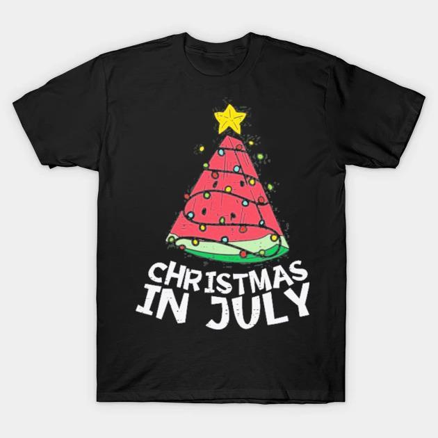 Christmas in july watermelon xmas tree summer men women kids shirt