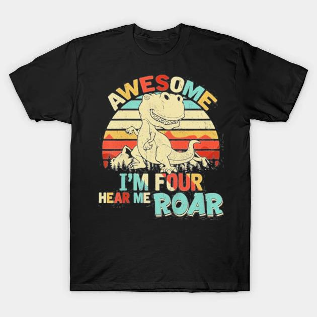 Kids I'm four hear me roar dinosaur birthday boy 4 years old shirt