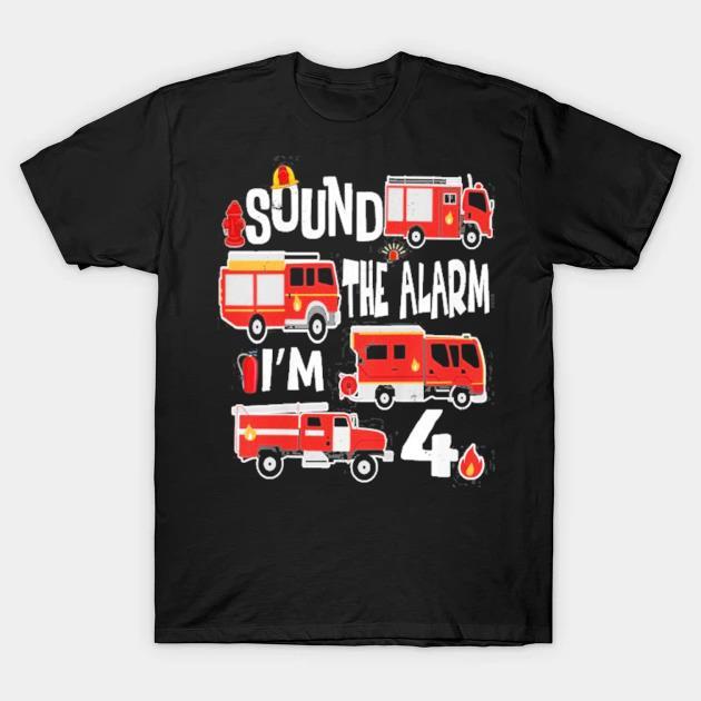 Kids kids fire truck 4th birthday boy firefighter 4 years old shirt