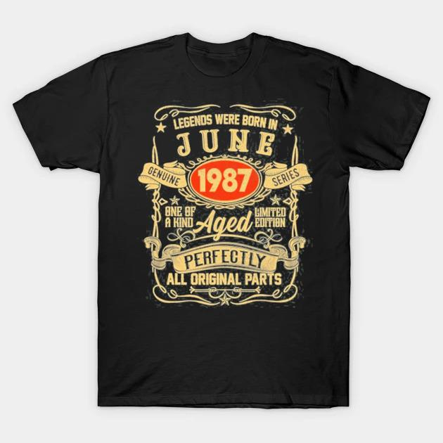 Legends were born in june 1987 34th birthday gifts 34 yrs shirt